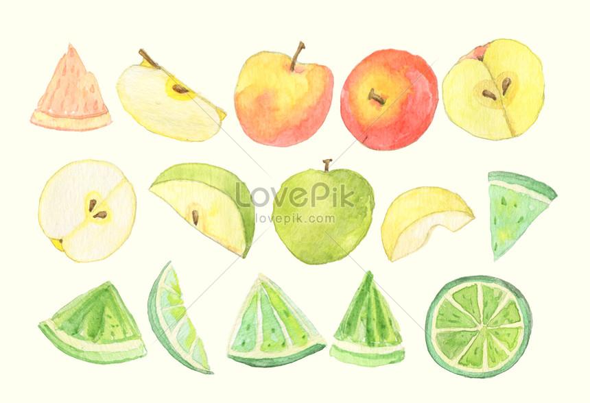 fundo de elementos de aquarela de frutas
