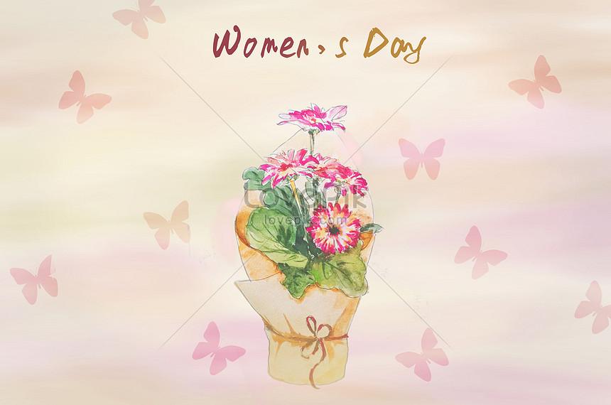 Wallpaper Hari Buket Wanita Gambar Unduh Gratis Ilustrasi