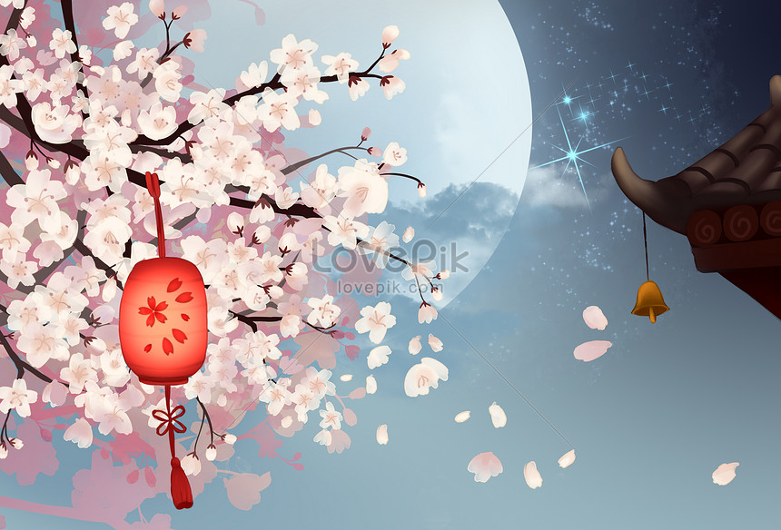 the cherry blossoms in the moonlight