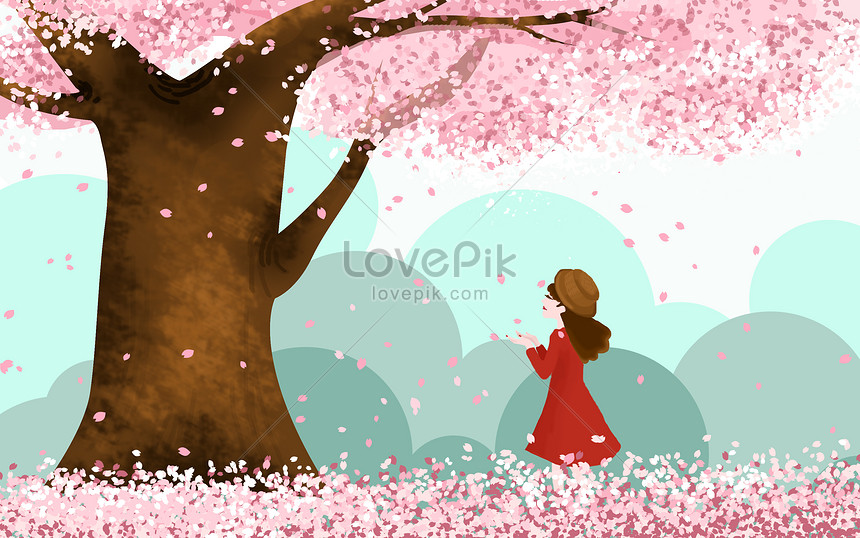 the girl under the cherry tree