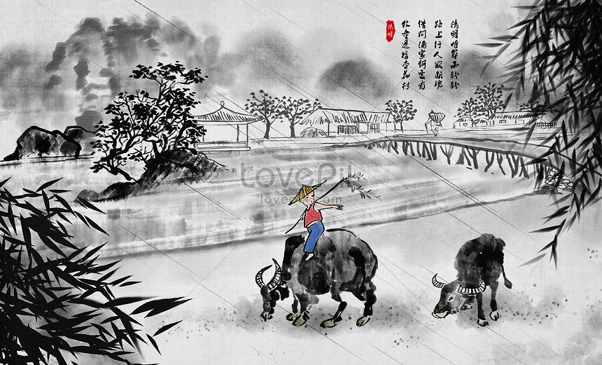 qing ming chinese wind and ink painting