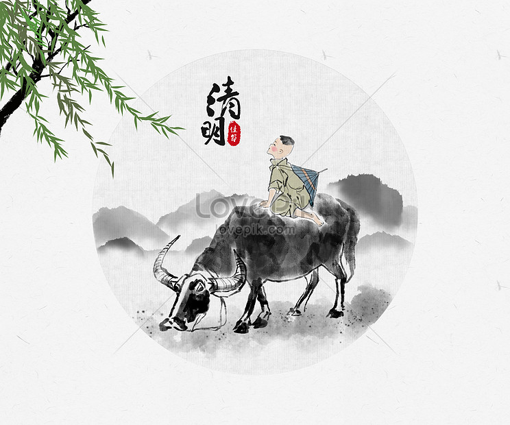 chinese wind illustration of the qing ming festival