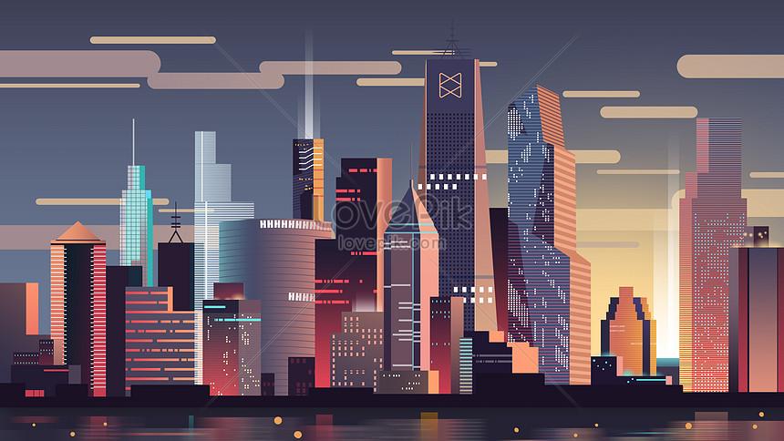 扁平城市建築
