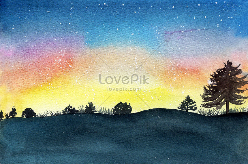 Watercolor Hand Painted Landscape Illustration Image Picture Free