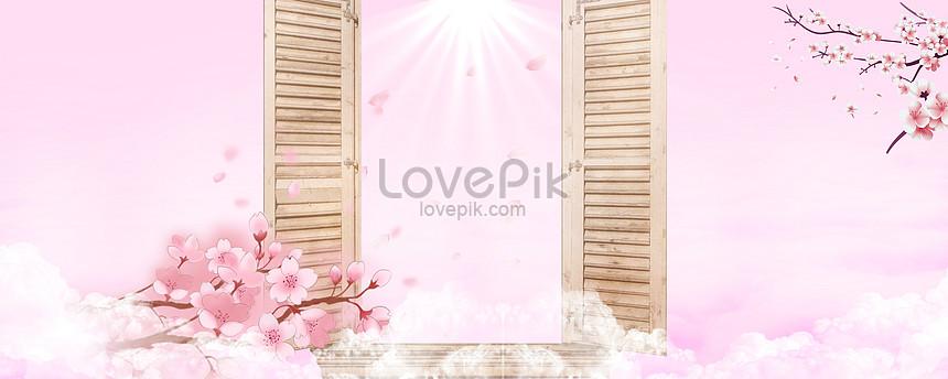 fresh pink background in spring