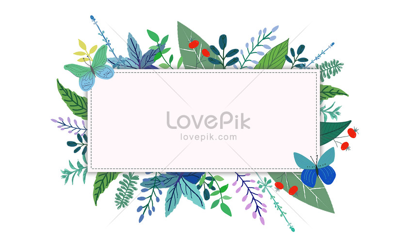 hand painted green leaf flower decoration frame