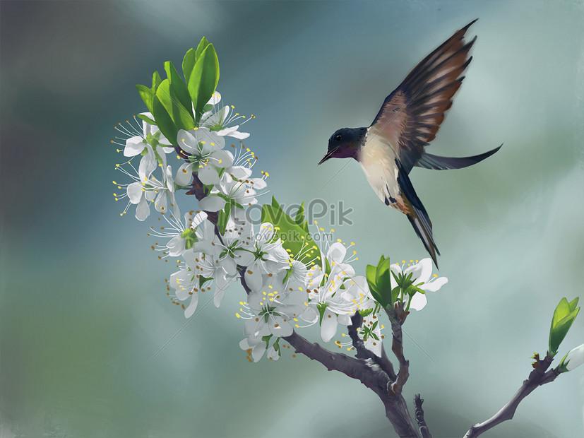 flower birds in spring