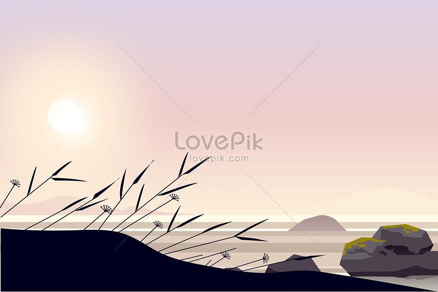 夕日の風景 芸術的概念 イラストイメージ図 Id 400120106prf画像