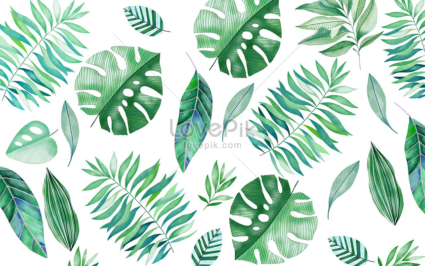 hand painted tropical leaf background