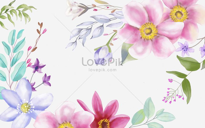 手繪水彩花朵背景
