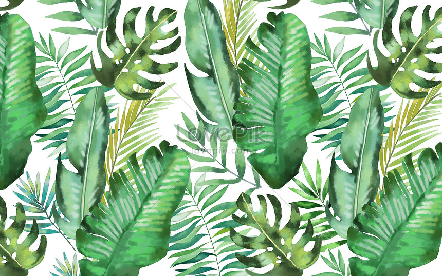 watercolor background of tropical leaves