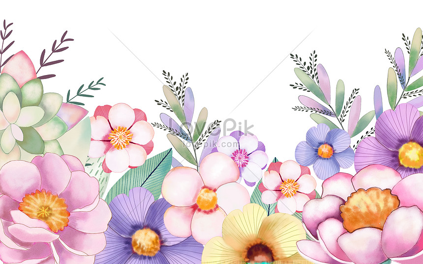 hand painted watercolor and flower background