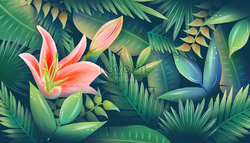 plant background of flower leaves