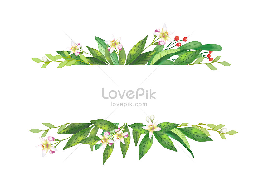 hand painted leaf decoration frame