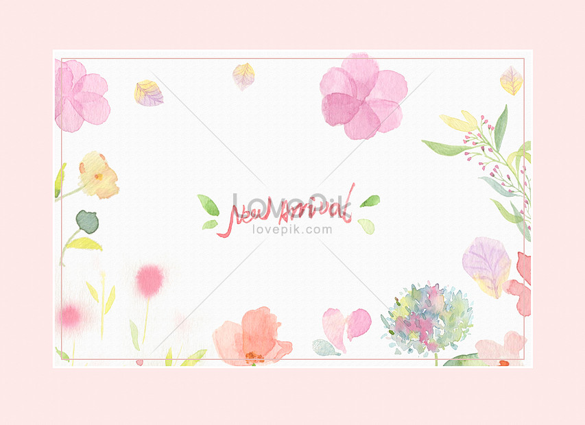 watercolor background of pink flowers