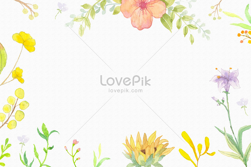 yellow watercolor and flower background