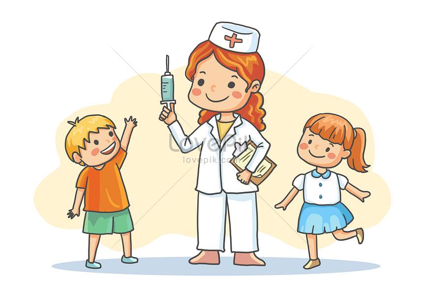 子供に予防接種をする