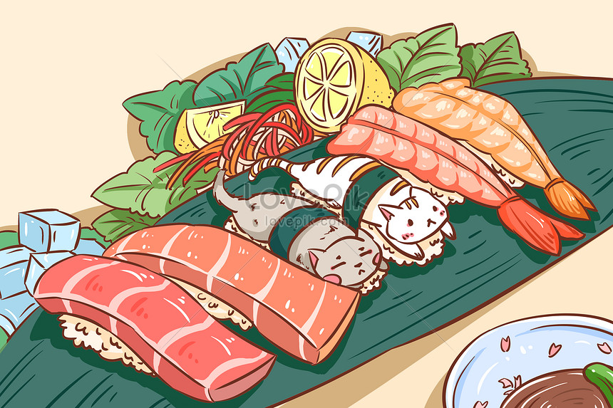 cats grip on sushi