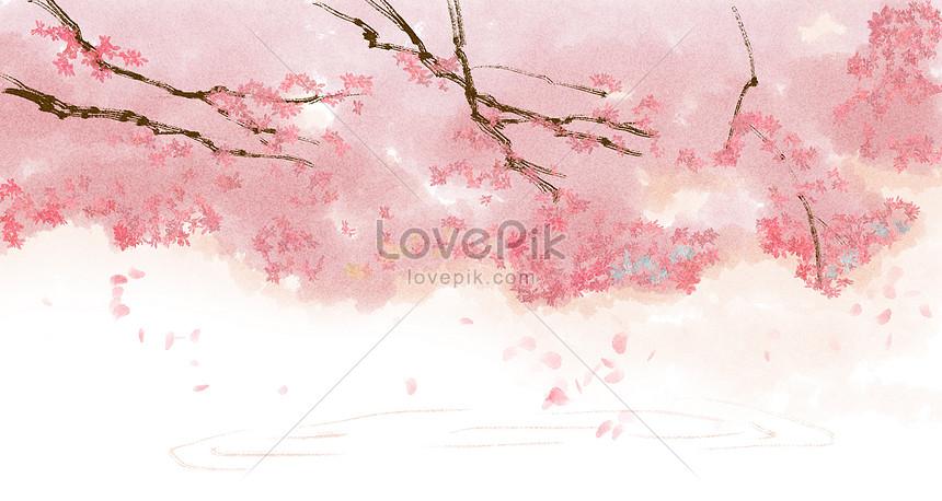 Tangan Dicat Gaya Cina Latar Belakang Indah Bunga Sakura Gambar Unduh Gratis Ilustrasi 400143519 Format Gambar Psd Lovepik Com