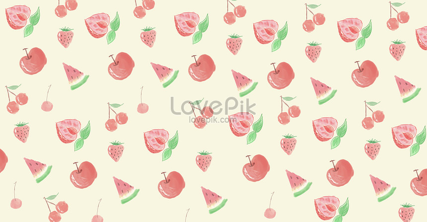 hand painted strawberry cherry background