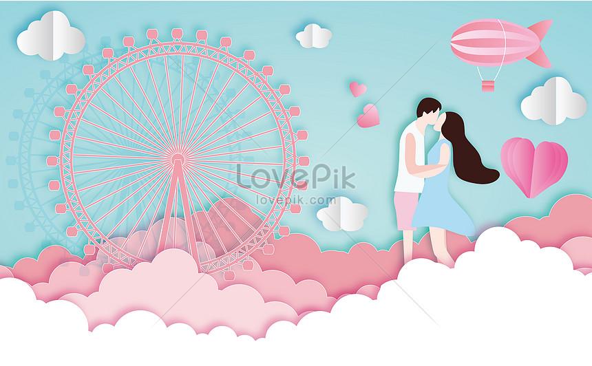 romantic couple paper cut wind