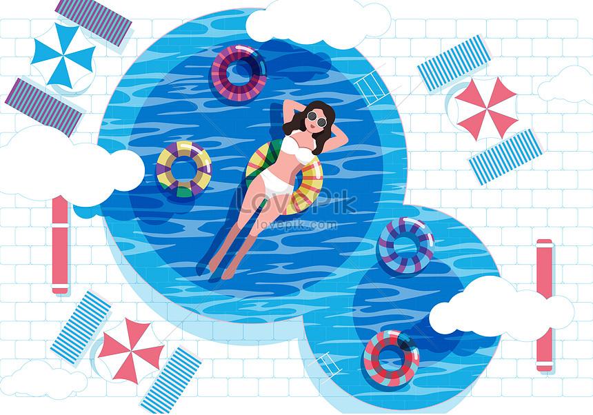 swimming pool in summer swimming pool