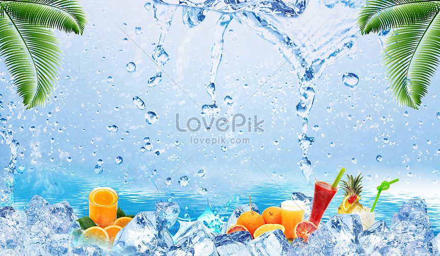 summer ice drinking background