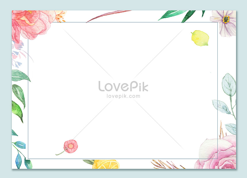 watercolor and flower border background