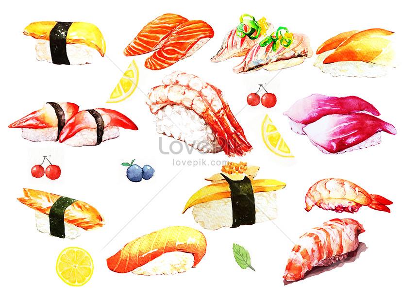 sushi dibujado a mano acuarela