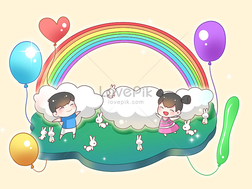 hand painted background of childrens day