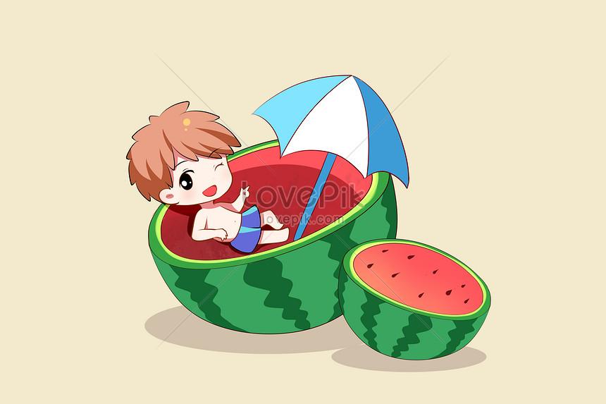 hand painted cartoon watermelon in summer