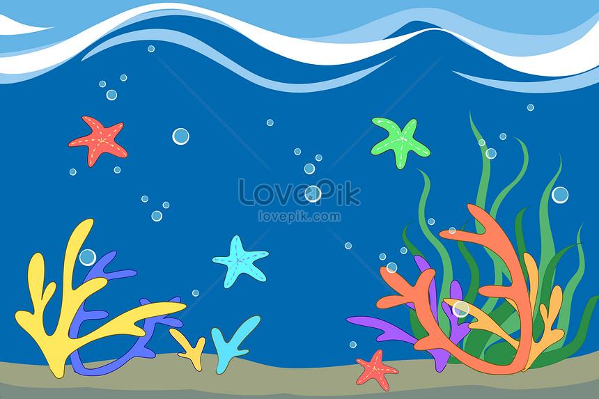 hand painted cartoon undersea