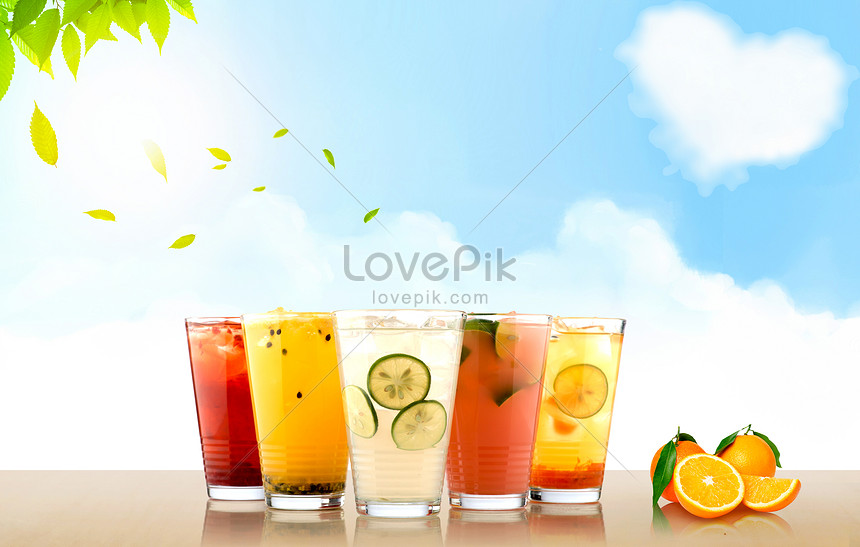 background of fruit ice drink in summer