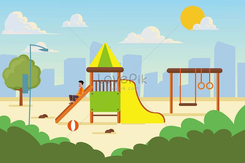 Gambar Ilustrasi Taman Bermain Taman Permainan Kanak Kanak Bandar Gambar Unduh Gratis Imej