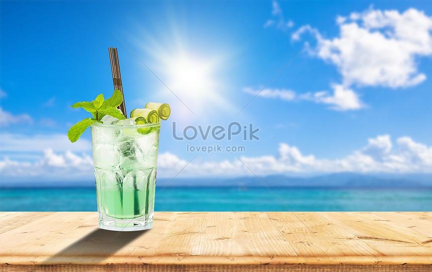 summer iced beverage poster
