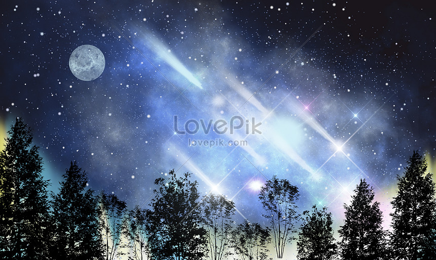 beautiful background of starry sky and moon