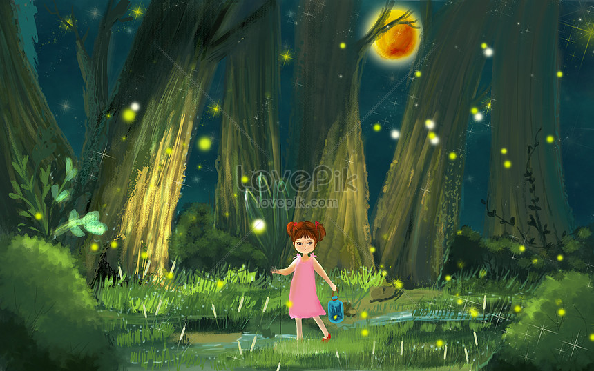 Catch fireflies in summer night illustration image_picture free