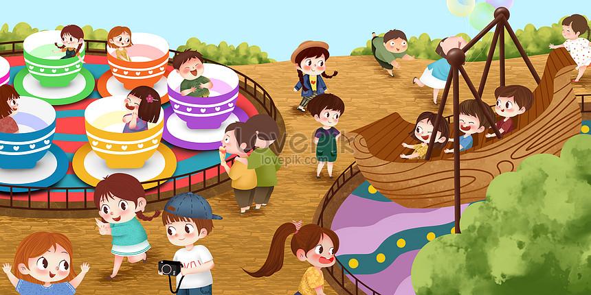 Gambar Ilustrasi Taman Bermain Taman Permainan Gambar Unduh Gratis Imej 400324999 Format Psd My