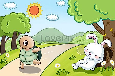 6 Cerita Dongeng Kura Kura Kelinci Balap Ilustrasi Free Download Foto Hd Unduh Gratis Id Lovepik Com