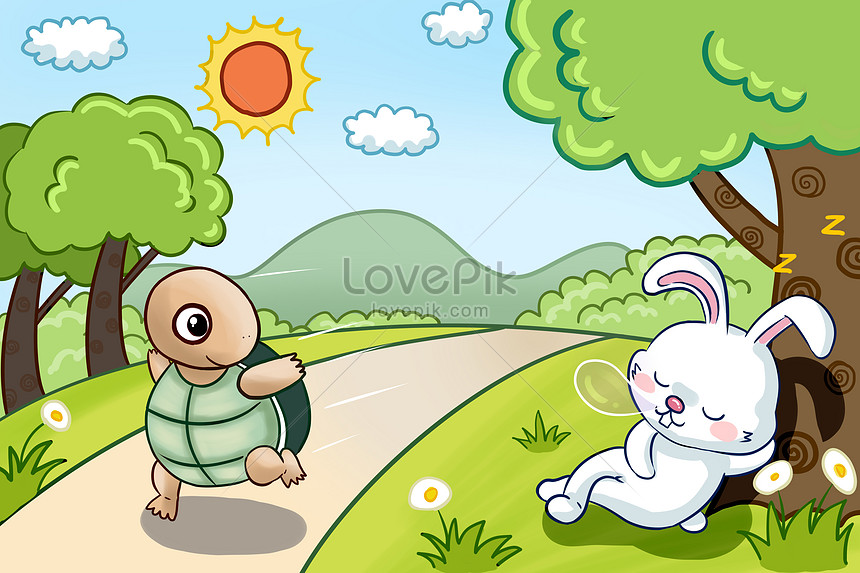 a fable story of a tortoise and a rabbit