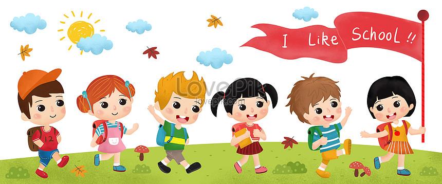 Watak Kartun Membuka Musim Sekolah Gambar Unduh Gratis Imej 400392554 Format Psd My Lovepik Com