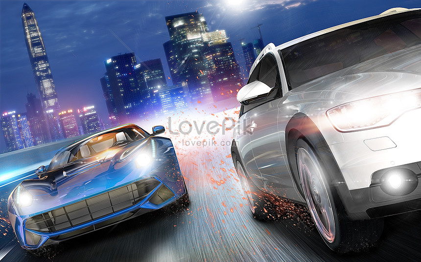 Racing car driving creative image_picture free download