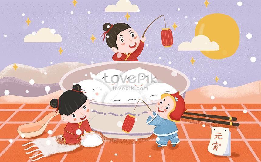 cartoon lantern festival tangyuan illustration