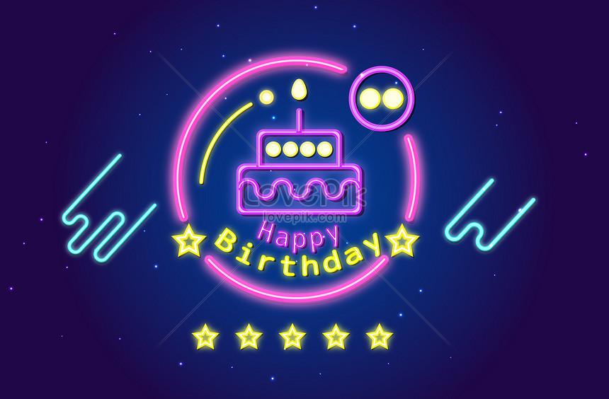 happy birthday neon characters