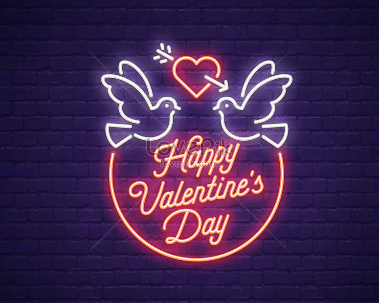 happy valentines day neon love illustration
