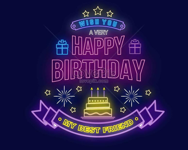 happy birthday neon blessing illustration
