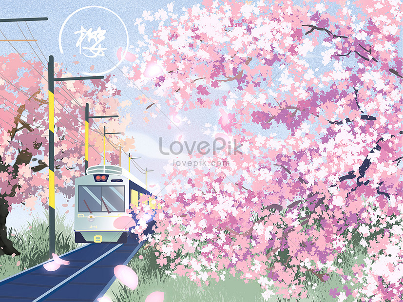 cherry blossom landscape illustration of tram with small fresh s