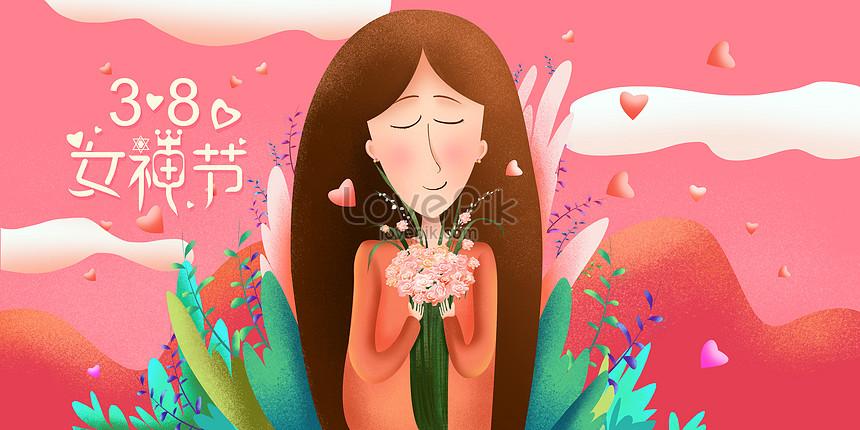 元の癒し 暖かくて美しい 女性の日イラストイメージ図 Id 400994999prf