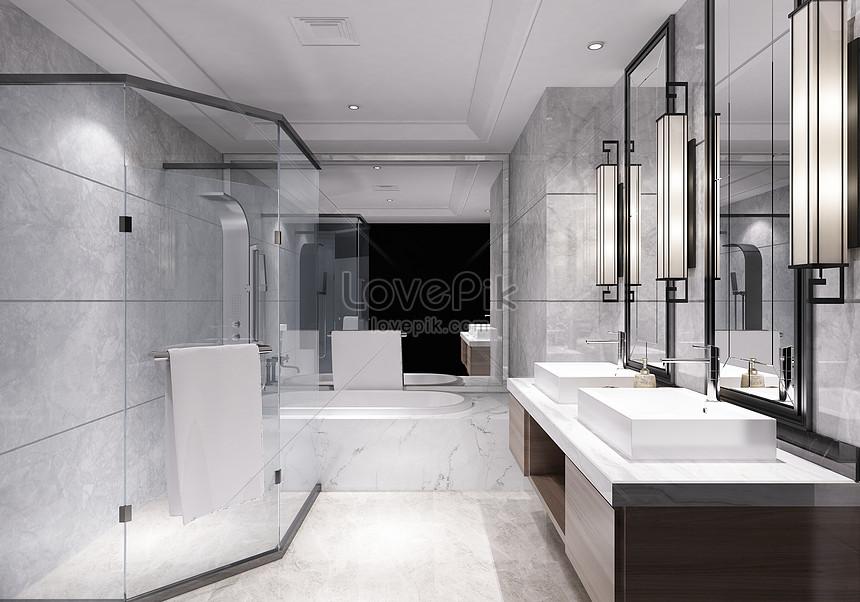 cuarto de baño moderno en blanco y negro gris Imagen ...