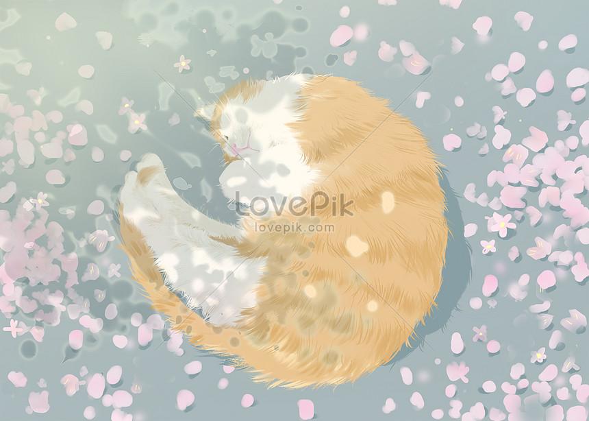 cat under cherry tree
